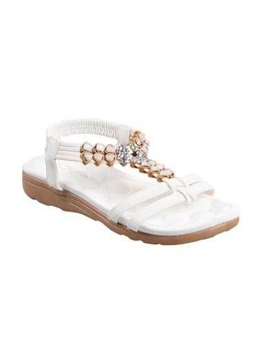 Guja 20Y200-4 Ortapedik Beyaz Bayan (36-41) Günlük Sandalet Beyaz